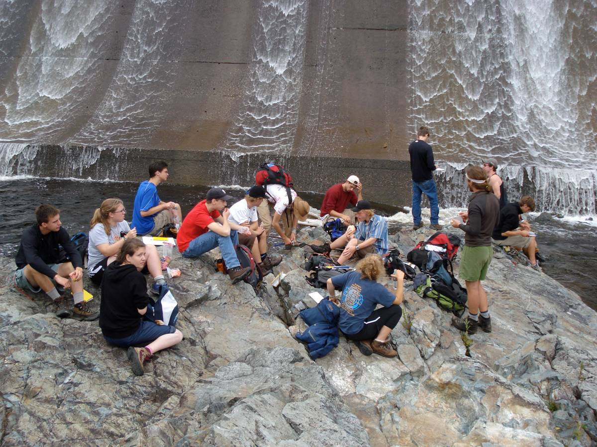 The class taking a lunch break at Rip Gorge outside of Baxter State Park